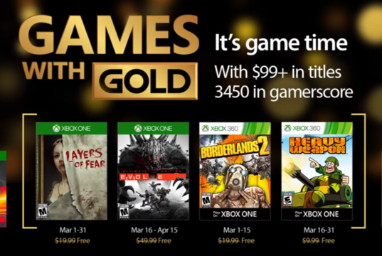 Games with Gold para marzo